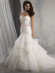 cheap -Mermaid / Trumpet Sweetheart Neckline Chapel Train Organza Strapless Sexy / Beautiful Back Made-To-Measure Wedding Dresses with Crystals / Cascading Ruffles / Side-Draped 2020