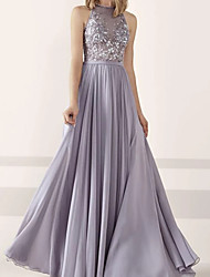 cheap -A-Line Beautiful Back Prom Dress Halter Neck Sleeveless Floor Length Chiffon Lace with Buttons Appliques 2020