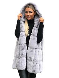 abordables -Femme Quotidien Chic de Rue Automne hiver Normal Manteau de fausse fourrure, Couleur Pleine Capuche Sans Manches Fausse Fourrure Mosaïque Noir / Marron / Gris / énorme