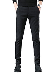 cheap -Men's Basic / Street chic Chinos Pants - Solid Colored Black / Blue, Classic Black Navy Blue Gray US32 / UK32 / EU40 US34 / UK34 / EU42 US36 / UK36 / EU44