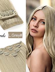 cheap -Neitsi Clip In Clip In / On Human Hair Extensions Straight Human Hair Human Hair Extensions Eurasian Hair Blonde Gray 7pcs Party Women With Bangs Female Medium Golden Brown