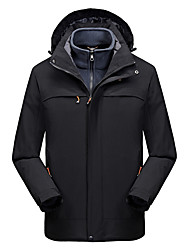cheap -Men's Hiking 3-in-1 Jackets Hiking Jacket Winter Outdoor Waterproof Windproof Warm Comfortable 3-in-1 Jacket Top Climbing Camping / Hiking / Caving Traveling Black / Dark Grey / Army Green / Dark Blue