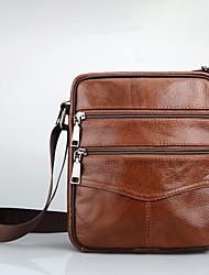 cheap -Unisex Glitter / Zipper Nappa Leather / Cowhide Crossbody Bag Dark Brown