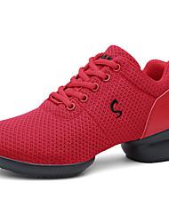cheap -Women's Dance Shoes Mesh Dance Sneakers Sneaker Thick Heel Black / White / Red