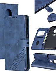 cheap -Case For Motorola MOTO G6 / Moto G7 / Moto G7 Plus Wallet / Card Holder / with Stand Full Body Cases Solid Colored PU Leather