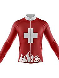 abordables -21Grams Homme Manches Longues Maillot Velo Cyclisme Hiver Toison 100 % Polyester Rouge Cyclisme Maillot Hauts / Top VTT Vélo tout terrain Vélo Route Chaud Résistant aux UV Respirable Des sports