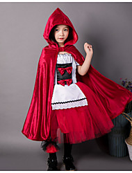 cheap -Princess Cosplay Costume Kid's Girls' Halloween Festival Halloween Festival / Holiday Terylene Red / Blue Carnival Costumes Solid Colored