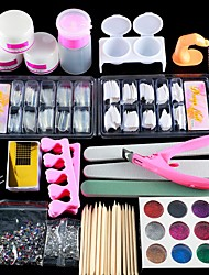 cheap -Acrylic Nail Art Kit Manicure Set 12 Colors Nail Glitter Powder Decoration Acrylic Pen Brush Nail Art Tool Kit For Beginners