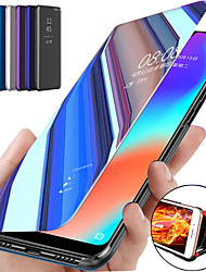 cheap -Phone Case For Apple Full Body Case Leather iPhone 12 Pro Max 11 SE 2020 X XR XS Max 8 7 6 with Stand Plating Mirror Solid Color PU Leather PC