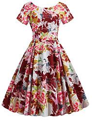 cheap -Women's Sheath Dress - Floral Wine S M L XL