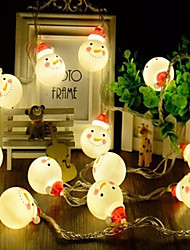 cheap -3m String Lights 20 LEDs Warm White RGB White Christmas Snowman StringChristmas Tree Decoration Lights Party Decorative Wedding AAA Batteries Powered 1 set