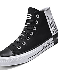 cheap -Men's Fashion Boots Canvas Fall & Winter Sporty / Casual Sneakers Walking Shoes Breathable Black / White