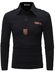cheap -Men's Daily Work Business / Basic Polo - Solid Colored Black