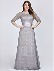 cheap -A-Line Jewel Neck Floor Length Lace / Satin Plus Size Formal Evening Dress with 2020