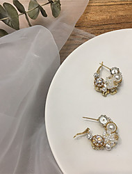 cheap -Women's Earrings Vintage Style Alphabet Shape Candy Pearl Earrings Jewelry White / Gold For Gift Daily Festival 1 Pair