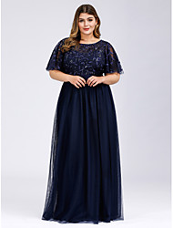 cheap -A-Line Empire Plus Size Mesh Prom Formal Christmas Evening Dress Jewel Neck Short Sleeve Floor Length Tulle Sequined with Sequin Appliques 2020