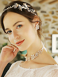 cheap -Women's Bridal Jewelry Sets Floral Theme Fashion Pearl Earrings Jewelry Gold For Wedding Party 1 set
