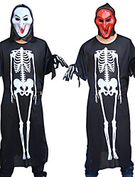 cheap -Skeleton / Skull Cosplay Costume Outfits Masquerade Adults' Couple's Cosplay Halloween Halloween Festival / Holiday Polyster White / Red Couple's Carnival Costumes / Leotard / Onesie / Gloves / Mask