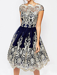 cheap -A-Line Scalloped Neckline Short / Mini Lace Elegant Cocktail Party / Holiday Dress 2020 with Appliques