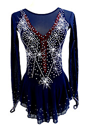 cheap -Figure Skating Dress Women's Girls' Ice Skating Dress Dark Blue Stretchy Competition Skating Wear Handmade Classic Ice Skating Figure Skating