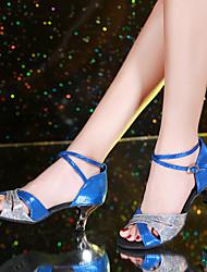 cheap -Women's Dance Shoes Synthetics Latin Shoes / Modern Shoes Paillette Heel Cuban Heel Gold / Red / Blue