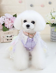 cheap -Dog Outfits Dress Tuxedo Geometric Wedding Wedding Party Dog Clothes Purple Pink Costume Baby Small Dog Polyster XS S M L XL