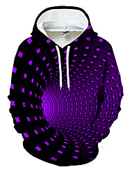 cheap -Men's Hoodie Geometric Color Block 3D Hooded Casual Basic Hoodies Sweatshirts  Black Blue Purple / Sports