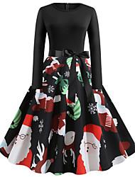 cheap -Women's Black Dress Vintage Street chic Christmas Party Little Black Floral Santa Claus Print S M Slim