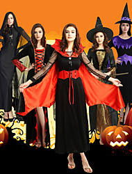cheap -Witch Cosplay Costume Party Costume Costume Adults' Women's Halloween Halloween Carnival Masquerade Festival / Holiday Polyster Black / Red / black / Golden Women's Carnival Costumes Solid Colored