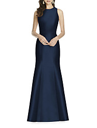 cheap -Sheath / Column Elegant Formal Evening Dress Jewel Neck Sleeveless Floor Length Satin with Bow(s) 2021