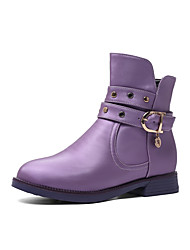 cheap -Girls' Flower Girl Shoes PU Boots Big Kids(7years +) Rivet White / Black / Purple Winter / Mid-Calf Boots / Party & Evening / Rubber