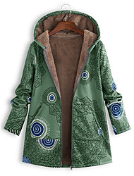 cheap -Women's Floral Long Parka, Polyester Red / Green / Blue S / M / L