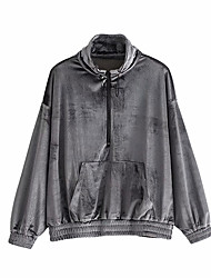 cheap -Women's Zip Front Streetwear Velour Track Jacket Running Shirt Winter High Neck Running Fitness Breathable Warm Soft Sportswear Top Long Sleeve Activewear Stretchy / Velvet