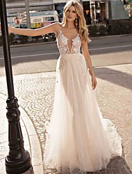 cheap -A-Line V Neck Court Train Lace / Tulle Spaghetti Strap Formal Sexy / Beautiful Back Made-To-Measure Wedding Dresses with Appliques 2020