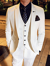 cheap -Black / White / Blue Solid Colored Slim Fit Polyester Suit - Notch Single Breasted One-button