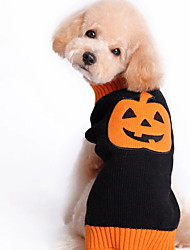 cheap -Dogs Coat Sweater Jacket Winter Dog Clothes Black Halloween Costume Large Dog Polyster Pumpkin Holiday XXS XS S M L XL