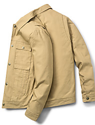 cheap -Men's Daily / Going out Vintage / Chinoiserie Spring &  Fall Short Jacket, Solid Colored Shirt Collar Long Sleeve Cotton / Polyester Black / Orange / Khaki