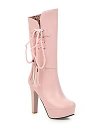 cheap -Women's Boots Chunky Heel Round Toe Tassel PU Mid-Calf Boots Classic / Sweet Winter / Fall & Winter White / Yellow / Pink / White