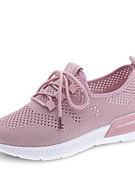 cheap -Women's Athletic Shoes Wedge Heel Round Toe Mesh / PU Spring & Summer / Fall & Winter Black / White / Pink