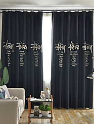 cheap -Two Panel American Country Style Imitation Hemp Embroidery Blackout Curtain Living Room Bedroom Dining Room Curtain