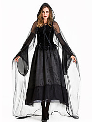 cheap -Ghostly Bride Dress Cosplay Costume Gloves Cloak Party Costume Adults' Women's Cosplay Halloween Halloween Festival / Holiday Tulle Cotton / Polyester Blend Black Women's Carnival Costumes