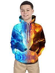 abordables -Enfants Bébé Garçon Actif Basique Loup Géométrique 3D Animal Imprimé Manches Longues Pull à capuche & Sweatshirt Bleu clair