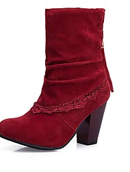 cheap -Women's Boots Chunky Heel Round Toe Stitching Lace / Tassel Suede Mid-Calf Boots Vintage Fall & Winter Black / Wine / Light Brown