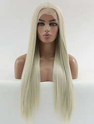 cheap -Synthetic Lace Front Wig Straight Matte Kardashian Middle Part Lace Front Wig Blonde Long Blonde Synthetic Hair 22-26 inch Women's Heat Resistant Women Hot Sale Blonde / Glueless