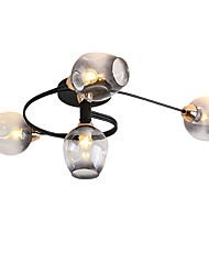 cheap -4-Light 4-head Nordic Style Metal Ceiling Lamp Modern Semi Flush Glass Ceiling lights Living Room Bedroom Dining Room lights