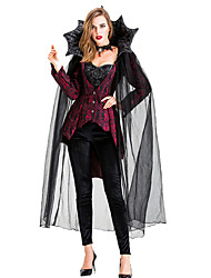 abordables -Vampire Pantalon Costume de Cosplay Manteau Costume de Soirée Adulte Femme Cosplay Halloween Halloween Fête / Célébration Tulle Métissé Coton / Polyester Noir Femme Déguisement Carnaval / Haut