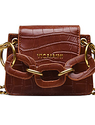 cheap -Women's Chain PU Top Handle Bag Solid Color Black / Dark Brown / Red Brown