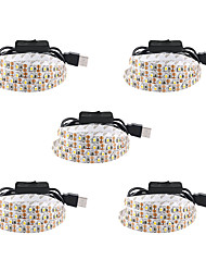 cheap -1m LED Strip Lights Flexible Tiktok Lights USB 60 LEDs SMD3528 5mm Warm White White Red Waterproof Party Decorative 5 V 5pcs