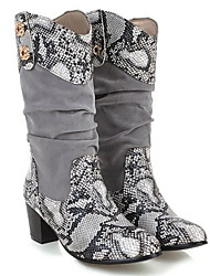 cheap -Women's Boots Chunky Heel Round Toe PU Mid-Calf Boots Fall & Winter Beige / Gray