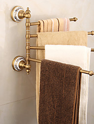 cheap -Towel Bar Multilayer / Creative / Multifunction Antique / Traditional Brass / Ceramic Bathroom 4-towel bar Wall Mounted